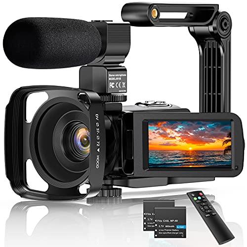 Videocamera Digitale Ultra HD 2.7K UHD 36MP per vlogging per Youtube IR Night Vision 3.0'LCD Touch Screen 16X zoom digitale con registratore palmare stabilizzatore per microfono, 2 batterie