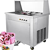 Forkwin Commercial Roll Maker 1060W Fried Ice Cream Machine Stainless Steel Square Pans with 5 Buckets13.8''/35CM for Restaurant Snack Bar, 13.8'', Silver