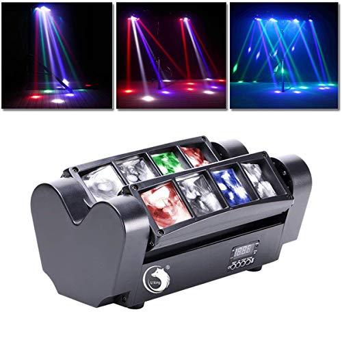 UKing 8x10W Teste Mobili,RGBW Luci Discoteca Effetto DMX512, con Modalit di Controllo del Suono e Automatica,Luci Palco per Bar Christmas Halloween Party