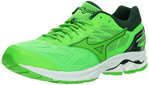 Mizuno Men's Wave Rider 21 Running Shoes, Green Slime-Green Gecko, 7.5 D US