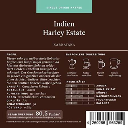 Berliner Kaffeerösterei Indien Robusta Harley Estate