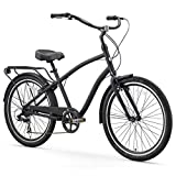 sixthreezero EVRYjourney Men's 7-Speed Hybrid Cruiser Bicycle, 26' Wheels with 19' Frame, Matte Black with Black Seat and Grips