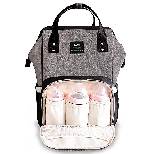 Land diaper bag multi-function waterproof travel backpack nappy bags insulated compartment pockets wipes pocket (Grey black)