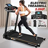 Fitnessclub Folding Electric Treadmill Power Motorised Running Machine with LCD Display, Hand Grip Pulse Sensor,Tablet Holder (Standard Version)