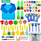 56Pcs éponges de peinture pour enfants, SPECOOL DIY Art & craft, Brosses...