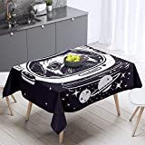 Homewish Space Dog Tablecloths Pug in an Astronaut's Helmet Table Cover for Kids Outer Space Theme Table Cloth for Dining Kitchen Home Decor Rectangle 55'x87'