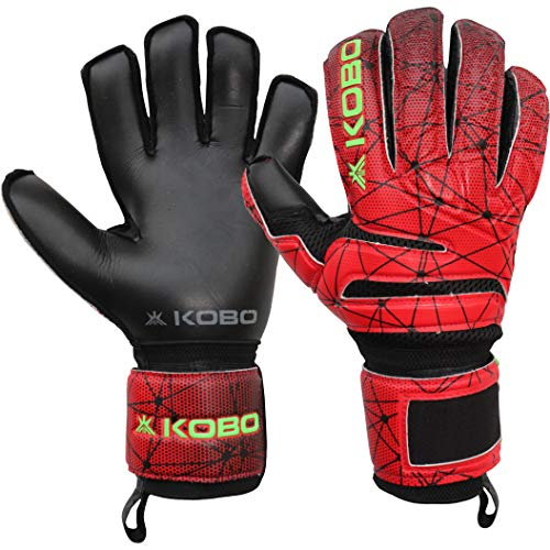 Kobo GKG-06 Football/Soccer Goalie Goal Latex Keeper Gloves, Strong Grip for The Toughest Saves, with Finger Spines to Give Splendid Protection and Comfort, 7.5, with Finger Save
