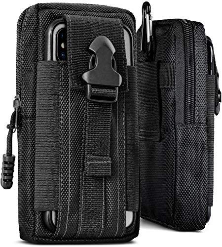 OneFlow® Multifunktionale Outdoor Handy-Tasche aus Oxford Nylon für Samsung A + J Reihe | Universal - mit Gürtel-Halter und Karabiner, Schwarz (Havoc-Black)