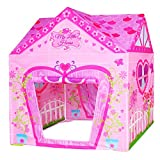 POCO DIVO Floral Princess Castle Girls Pink Palace Play Tent Kids Pretend Fairy Playhouse