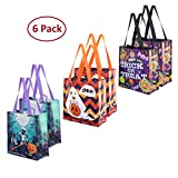 Earthwise Halloween Trick or Treat Bags Reusable Candy Holiday Gift Goodie Totes Baggies Party Favor Bags (6 Pack) 3 Cute Prints (Ghosts/Mummy/Candy)