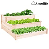 AMERLIFE 3 Tier Raised Garden Bed for Vegetables Wooden Elevated Planter Box Natural Wood for Outdoor Patio Yard Lawn, 49'X49'X22'