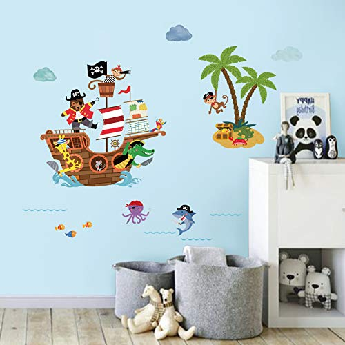 decalmile Pirate Ship Wall Decals Kids Room Adventure Animals Wall Stickers Baby Nursery Children Bedroom Bathroom Wall Decor