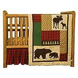 Northwoods Forest Animal Theme Buffalo Plaid 3 Piece Baby Crib Bedding Set