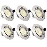 Spot LED Encastrables Plafond, 6 Pack 7W Ampoule GU10 Spots de Plafond...