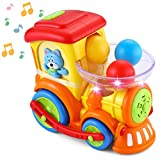 JOYIN Ball Popper Toy For Toddlers Pitch & Go Ball Rolling train toys Infant Toy Car with Light Talk Music for 1 2 3 4 Years Baby Activity Early Educational