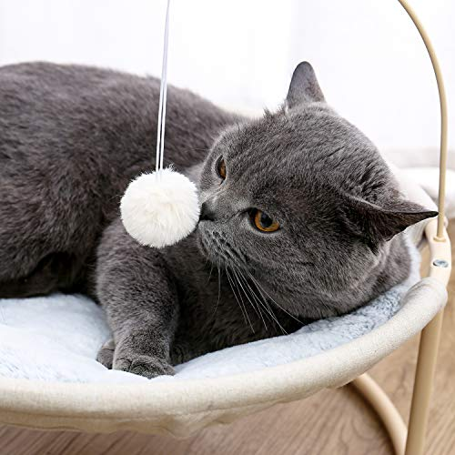 Made4Pets Cat Bed Soft Plush Cat Hammock Detachable Pet Bed with Dangling Ball for Cats, Small Dogs Beige