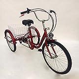 OUBAYLEW Triciclo Adulto con Cesta 24' 3Ruedas 6velocidades Ajustable + luz Principal (Rojo)