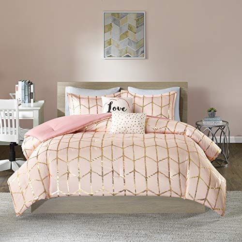 Intelligent Design Raina Comforter Set Twin/Twin XL Size - Blush Gold, Geometric – 4 Piece Bed Sets – Ultra Soft Microfiber Teen Bedding for Girls Bedroom