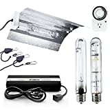 iPower 400 Watt HPS MH Digital Dimmable Ballast Grow Light System Kits Horticulture Wing Reflector Hood Set with Timer