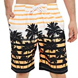 KAILUA SURF Mens Swim Trunks Long, Quick Dry Mens Boardshorts, 9 Inches Inseam Mens Bathing Suits with Mesh Lining (Orange Palm Tree, L)
