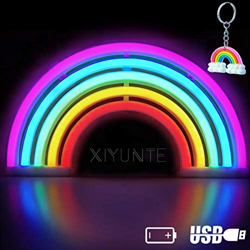 XIYUNTE Arcobaleno Luci al neon Luci notturne, colorato arcobaleno Insegne luminose Luci per interni decorazione da parete, Batteria e USB motorizzato Luce al neon per bambini, cameretta, natalizie