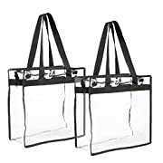 Clear Bag: Load up this clear tote bag with your everyday essentials for work or school; the bags feature durable black straps and a top zipper for safety Multi-Purpose: Bring a clear plastic tote bag with you to an upcoming sporting event, concert, ...