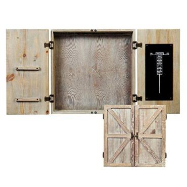 American Legend Barnwood Dartboard Cabinet with Wheat Finished Barn Style Doors - Dartboard Not Included