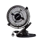 KEYNICE USB Desk Fan, 4 Inch Table Fans, Mini Clip on Fan, Portable Cooling Fan with 2 Speed, USB Powered Stroller Fan, 360 Rotate USB Fan, Personal Quiet Electric Fan for Home Office Camping- Black