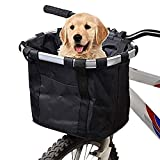 URBEST Bike Basket,Small Pets Cat Dog Folding Carrier,Removable Bicycle Handlebar Front Basket, Quick Release and Easy to Install,Detachable Cycling Bag (Black)