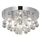 Modern Round Crystal Chandelier Light, 3 Light Small Crystal Flush Mount Ceiling Light, Silver Modern Ceiling Lamp Chandelier Light Fixture for Hallway, Bedroom, Living Room, Dining Room, Kids Room