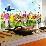 YIBOKANG Tulipán Butterfly Restaurante Cocina Obstetricia Maleta De La Pared 60 * 90 Cm Temperatura Alta Temperatura Gabinete De Teja Impermeable Etiqueta Engomada Decorativa