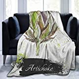 dsdsgog Flannel Blankets Home Cute Soft Artichoke,Hand Drawn Delicious Fresh Vegetable Healthy Menu Good Eats Super Food, Fern Green and Black,60'x70' Soft Blankets for Kids