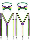 4 Pieces Mardi Gras St. Patrick's Day Costume Suspenders and Bowtie Set, Adjustable Elastic Y Back Style Suspender Party Supplies Suspenders Shoulder Straps for Boys and Men