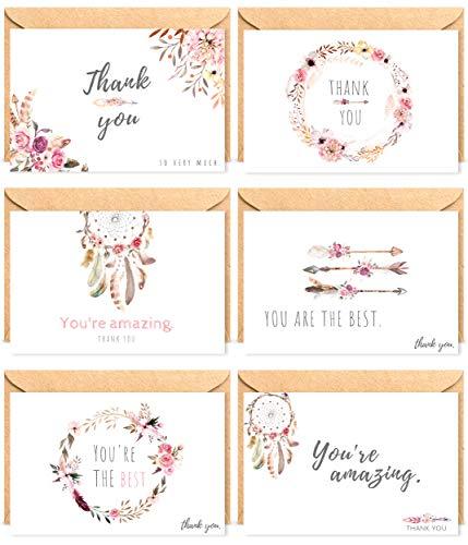 The Boho Life Dankeskarten \'Wild Flower\'   Florales Set bestehend aus 60 Karten, Umschläge und Stickern   Für Hochzeitsbilder, JGA, Baby Shower, Geburtstag
