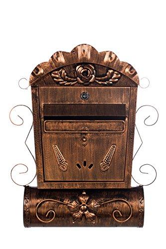 Antiker großer und sehr edler Briefkasten LB6028 Bronze Wandbriefkasten, Briefkasten, Nostalgischer Englischer Briefkasten Metall 49 cm hoch . Mit separatem Zeitungsrohr. Mit Befestigungsmaterial für die Wand. mit 2 Schlüsseln , Rostfrei