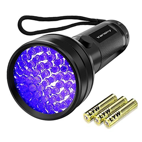 Vansky UV Schwarzlicht Taschenlampe mit 51 LEDs | Haustiere Urin-Detektor für Eingetrocknete Flecken Ihrer Hunde, Katzen und Nagetiere auf Teppichen, Vorhänge, Gardinen, Möbel| inkl. 3xAA-Batterien