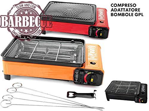 B-black Cucina da Campeggio XXL, Barbecue a Gas, Portatile con Adattatore bombola GPL Omaggio
