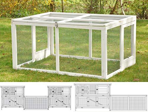 nanook Balu System-Kaninchenstall, Freilaufgehege als Erweiterung für Hasenstall, wetterfestes Freigehege aus Holz für draußen, 120 x 90 x 60 cm