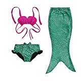 Little Girls 3 Pcs Mermaid Tail for Swimming Mermaid Bathing Suits Swimsuit Bikini Set, Green, Size 120(6-7Y)