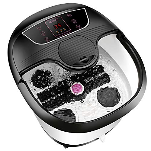 Motorized Foot Bath Spa Massager, Feet Bath Spa with Heat and Massage, 8 Massage Balls and Rollers with Acupuncture Points, Bubble Surging for Feet Relief and Cleaning, Timer Pedicure Stone Function
