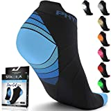 Physix Gear Sport Compression Running Socks for Men & Women Plantar Fasciitis - 2PAIR BLK BLU L/XL
