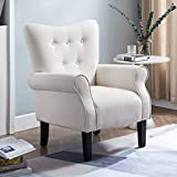 Smile Back Modern Accent Chair with Wood Legs, Wingback Chair, Reading Chair, Comfortable Armrest and Supportable Backrest Armchair,Sofa Club Chair for Living Room, Bedroom, Home Office (Beige White)