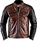 III-Fashions Mens Black & Brown Cafe Racer Retro Brando Vintage Quilted Motorcycle Leather Biker Jacket, XX-Large