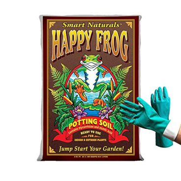 Fox Farm Happy Frog Organic Potting Soil Mix Indoor Outdoor Garden Plants, 51.4 Quart(2 cu ft) ( Bundled with Pearsons Protective Gloves)