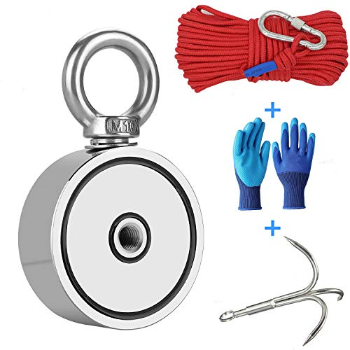 Fishing Magnet with Grappling Hooks,66ft Rope & Glove,760LB Pulling...