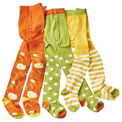 WELLYOU leotardos para bebés/niños, medias para chicas/chicos, pantimedias para bebés/pantimedias para niños verde/blanco puntos & flores conjunto de 3 tallas 74-80
