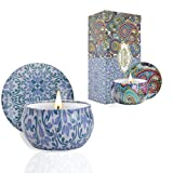2 Pack Scented Candles, 2.5 oz Aromatherapy Candles for Home Scented, Natural Soy Candles with Floral Scents, Small Portable Travel Jar Candle Set for Spa, Bath, Yoga, Home Decor Tin Candle Pack