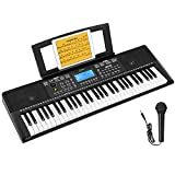 Donner DEK-610 Keyboard Piano Beginners 61 Key Electronic Keyboard Portable with Full-Size Keys, LCD Display, a Music Stand and Microphone