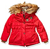 Jessica Simpson Girls' Toddler Puffy Winter Coat with Cozy Trimmed Hood, Hearts Red, 3T
