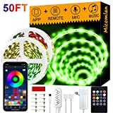 Micomlan 50ft/15M Led Strip Lights,Music Sync Color Changing RGB LED Strip Lights Built-in Mic, Bluetooth app Controlled LED Lights Rope Lights, 5050 RGB LED Light Strip(APP+Remote+Mic+3 Button)